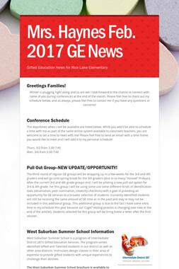 Mrs. Haynes Feb. 2017 GE News