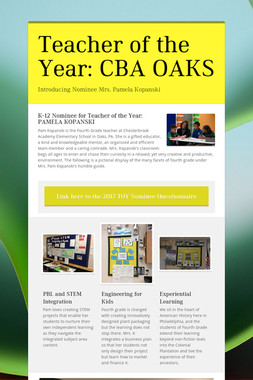 Teacher of the Year: CBA OAKS