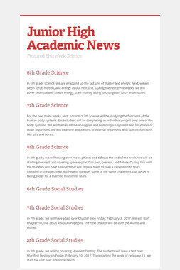 Junior High Academic News