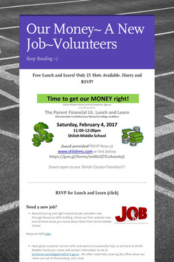 Our Money~ A New Job~Volunteers