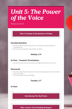Unit 5: The Power of the Voice