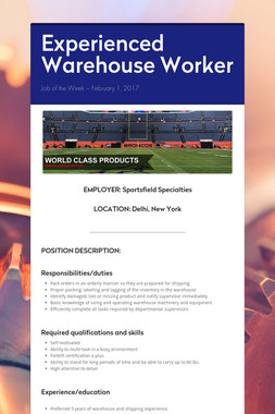 Experienced Warehouse Worker