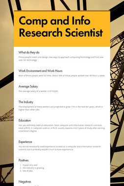 Comp and Info Research Scientist
