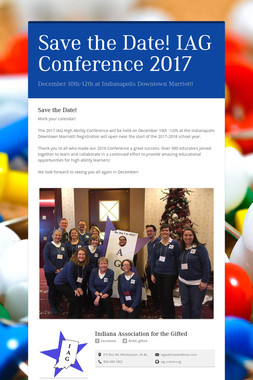 Save the Date!  IAG Conference 2017