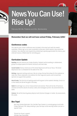 News You Can Use! Rise Up!