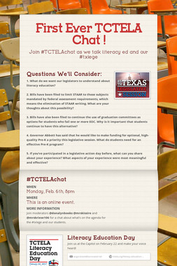 First Ever TCTELA Chat !