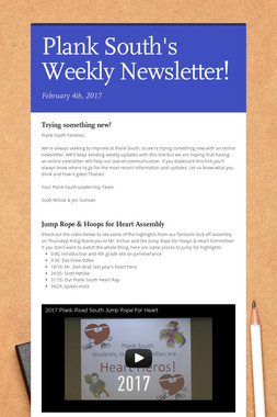 Plank South's Weekly Newsletter!