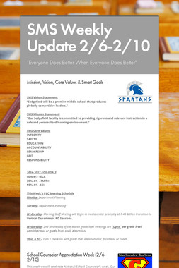 SMS Weekly Update 2/6-2/10
