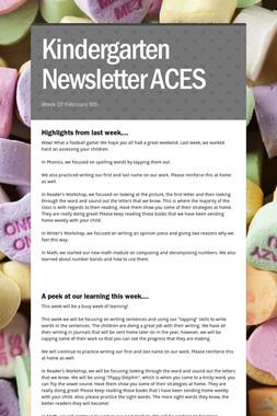 Kindergarten Newsletter ACES