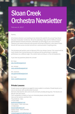 Sloan Creek Orchestra Newsletter