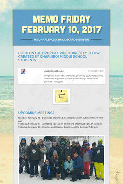 MEMO    Friday February 10, 2017