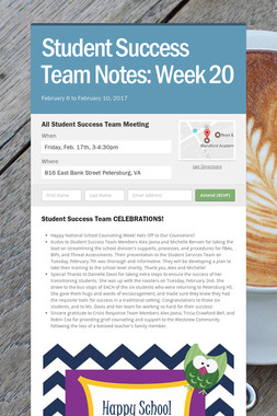 Student Success Team Notes: Week 20