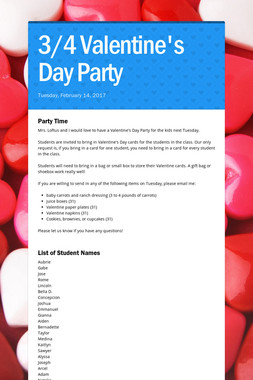 3/4 Valentine's Day Party