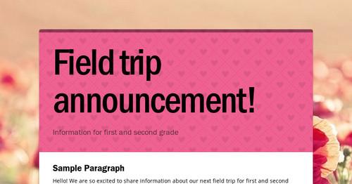 Field trip announcement smore newsletters maxwellsz