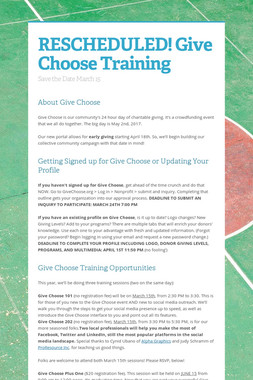 RESCHEDULED! Give Choose Training