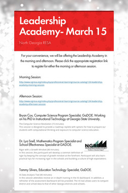 Leadership Academy- March 15