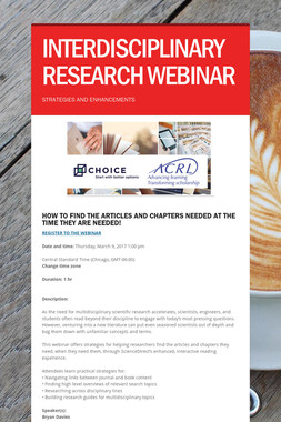 INTERDISCIPLINARY RESEARCH WEBINAR