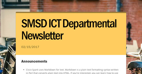 SMSD ICT Departmental Newsletter | Smore Newsletters
