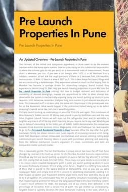 Pre Launch Properties In Pune