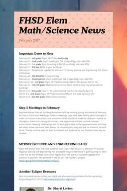 FHSD Elem Math/Science News
