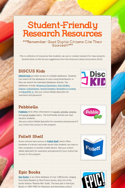 Student-Friendly Research Resources