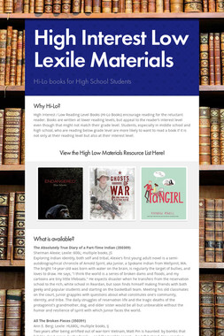 High Interest Low Lexile Materials