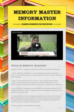 Memory Master Information