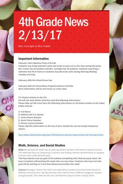 4th Grade News 2/13/17