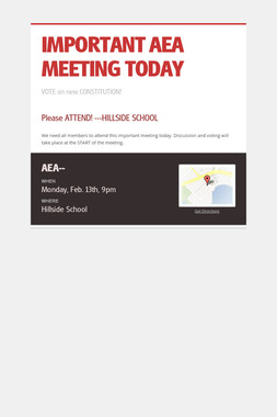 IMPORTANT AEA MEETING TODAY