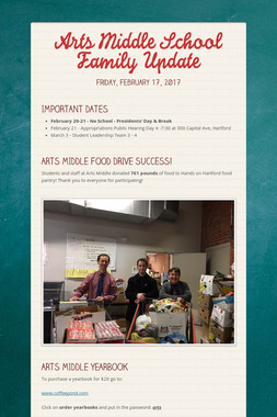Arts Middle School Family Update