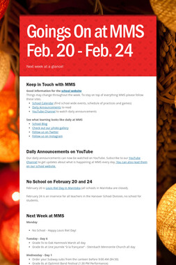 Goings On at MMS Feb. 20 - Feb. 24