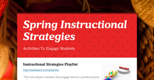 Spring Instructional Strategies Smore Newsletters For Education