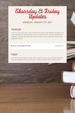 Thursday & Friday Updates