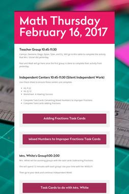 Math Thursday February 16, 2017