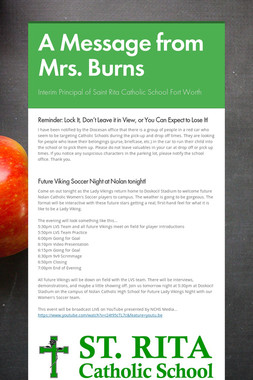 A Message from Mrs. Burns