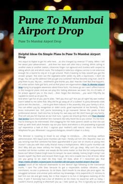 Pune To Mumbai Airport Drop