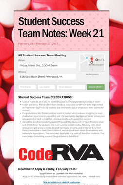 Student Success Team Notes: Week 21