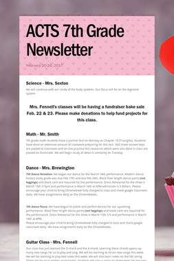 ACTS 7th Grade Newsletter