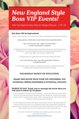 New England Style Boss VIP Events!
