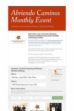 Abriendo Caminos Monthly Event
