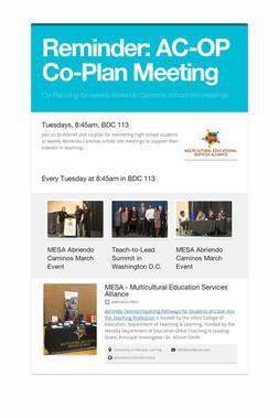 Reminder: AC-OP Co-Plan Meeting