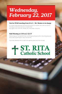 Wednesday, February 22, 2017