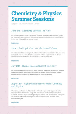Chemistry & Physics Summer Sessions