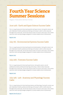 Fourth Year Science Summer Sessions