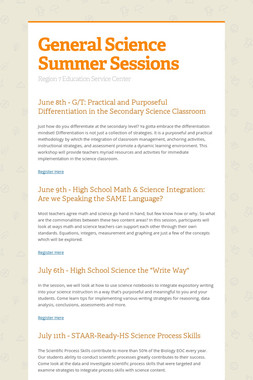 General Science Summer Sessions