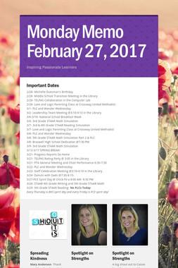 Monday Memo February 27, 2017