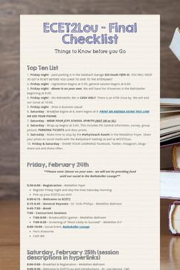 ECET2Lou - Final Checklist