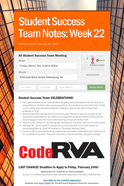 Student Success Team Notes: Week 22