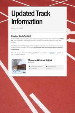 Updated Track Information