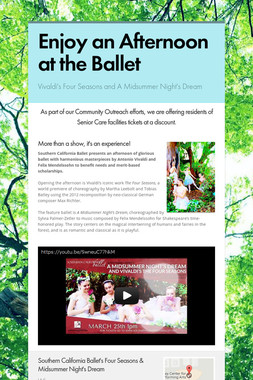 Enjoy an Afternoon at the Ballet